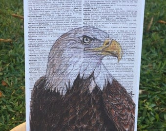 Bald Eagle on Dictionary Paper - Art Print
