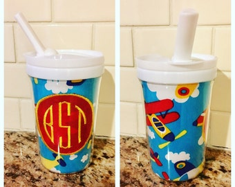 Airplane Sippy Cup with Monogram
