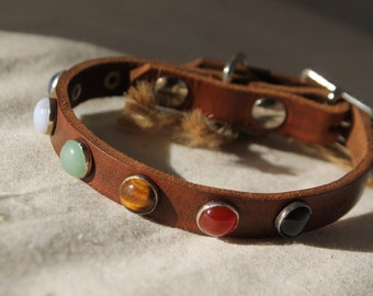 Leather Dog Collar, Crystal Dog Collar, Gemstone Dog Collar, Dog Collar Leather, Custom Dog Collar, Handmade Dog Collar, Dog Lover Gift