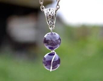 Amethyst silver pendant, Amethyst necklace, Amethyst jewelry,  Silver Amethyst pendant, Blue amethyst pendant, Amethyst silver gift.