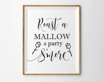 Roast a Mallow and Party S'more Sign Printable, Smores Bar Sign, Winter Wedding Sign, Smores wedding favors sign, Wedding Table decor