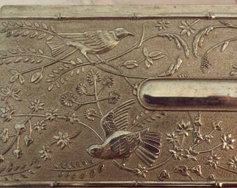 Vintage Silver Plate Jewelry Box with Birds Vintage Silver Long Box Floral