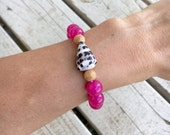 Pink and Wood Bead Bracelet with Cone Shell