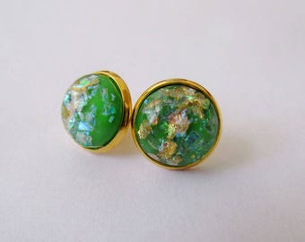 Gold Leaf Earrings - Green Series