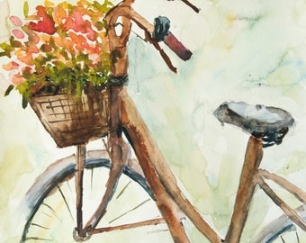 Bicycle with flowers in basket, Original watercolor painting with signed, size 21 x 29.7 cm
