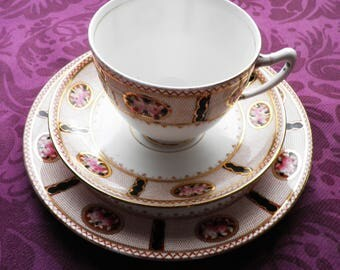 Vintage Paragon Star China Trio 1930s  Pattern 5844 Two Roses  Teacup Saucer Cake Plate