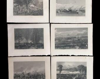 Set of Six Antique CIVIL WAR BAttle Scene Steel Engravings