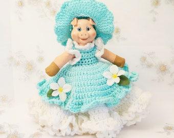 Cute Pig/Bathroom Tissue Cover/Toilet Paper Cover/Miss Pig/Vintage Handmade/Crochet Toilet Paper Cover/Southern Bell Pig/Vintage Pig Decor