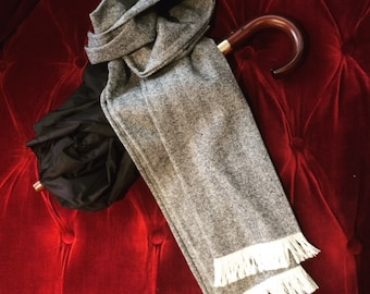 Hand-made Theater-goer men's scarf Greys and ivory (herringbone)