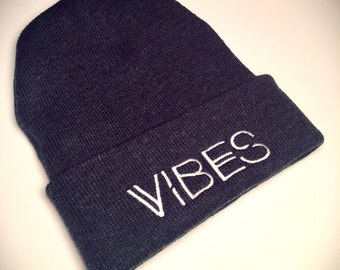 VIBES Beanie in Charcoal with White Embroidery