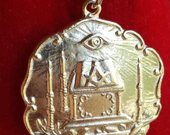 French Masonic Medal Fraternity Fraternal All Seeing Eye Medal Mason 18K Gold Plated
