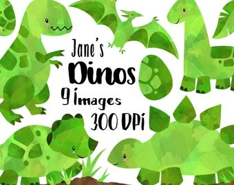 Watercolor Dinosaurs Clipart - Green Dinosaur Download - Instant Download - T-Rex Brontosaurus - Triceratops - Stegosaurus