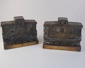 Vintage Brass Caboose Train Bookends Solid Brass Trains Box Cars Railcars Locomotive Cable Cars Bookends Or Doorstops Over 3 Pounds LBS Each