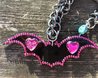 Black And Pink Hearts And Skulls Large Bat Necklace