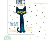 Pete the Cat Party Invitation - 5x7 with reverse side