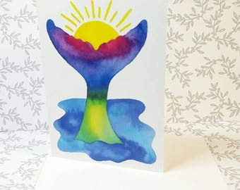 Whales Tail Thank You Card Set // Watercolor Note Card