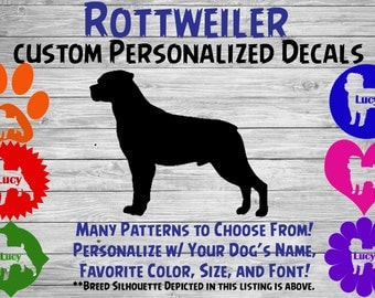 Rottweiler Personalized Dog Silhouette Vinyl Decal - Dog Sticker - Window Car Sticker – Yeti Tumbler, Phone - Custom Dog Name Decal