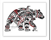"Haida Bear, Tlingit Grizzly Art Print,Pacific Northwest Coast, Native American, First Nations Art - ""Kodiak"" 11x14 in RED"
