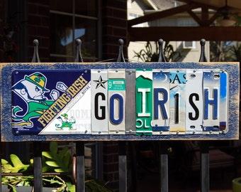 GO IRISH - custom made Notre Dame Fighting Irish license plate sign w/logo - tailgate/alumni/graduation gift