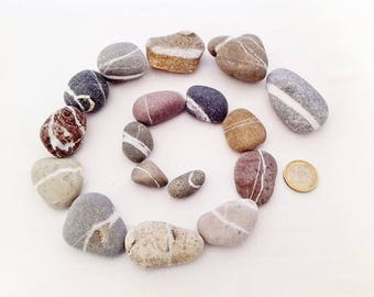 Reserved for A.h.* 17 colourful stripy Sea Pebbles from Paros island, Greek beach stones, raw coloured pebbles, beach stones supply #BS022#