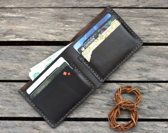 Mens leather wallet minimalist mens wallet travel leather wallet mens cash wallet bifold - Free gift