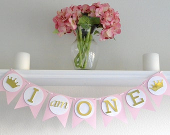First Birthday Party Banner Princess - 1st Birthday Crown Banner - Birthday Decoration Princess - 1st Birthday Princess Party