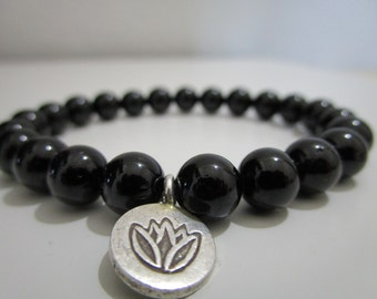 Gemstone Bracelet Lotus Jewelry Beaded Bracelet  Womens Gift Karma Bracelet Mantra Black Tourmaline bracelet Lotus stone bracelet