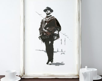 Clint - Clint Eastwood - the good the bad and the ugly - Wall Decor - Artwork- Painting - Illustration - Home Decor - retro - classic