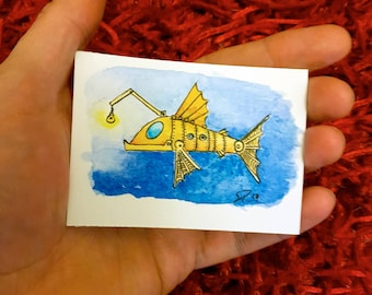 Deep Sea Driver, Steampunk artwork Angler fish ACEO, Steampunk artwork in watercolour, collectible artwork watercolor miniature signed art