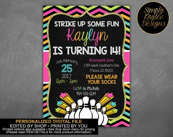 Bowling Birthday Party Invitation - Cosmic Neon Bowling Birthday Invitation
