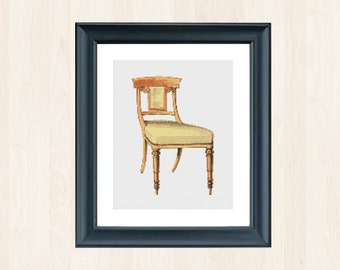 Vintage Chair Cross Stitch Furniture Cross Stitch Vintage Home Decor Instant Download Antique Furniture Embroidery Vintage Decor Antique