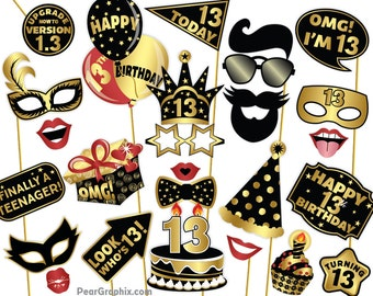 13th Birthday Photo Booth Props, 13th Birthday Girl Boy Photo Props, 13th Birthday Party Decorations, Mustache Lips Black Gold Printable PDF
