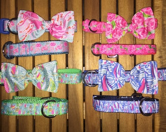 Lilly Inspired Bow/Bowtie Collar + Leash Set