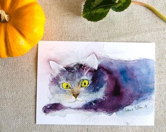 Smiling cat postcard, print postcard - grey lying cat postcard - cat stationery - kitty card