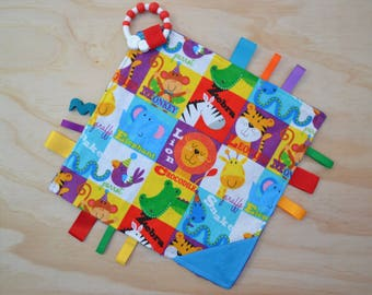 Taggie, Crinkle Sound, Sensory, Activity, Teething, Minky Blanket- Jungle Animals