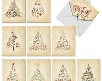 M6648XSB Retro Tannenbaum: 10 Assorted Blank Christmas Note Cards Featuring Various Christmas Tree Styles, w/White Envelopes