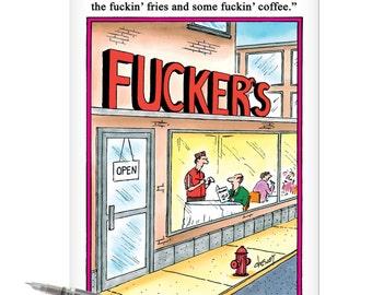 NobleWorks J8245 Jumbo Funny Birthday Card: 'Cafe' with Matching Envelope