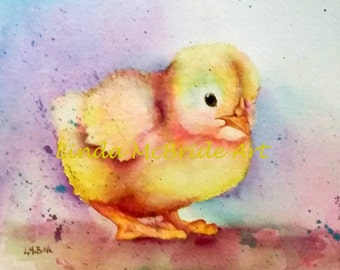 Baby Chick 3x3 gift enclosure card from my original watercolor painting with envelope.