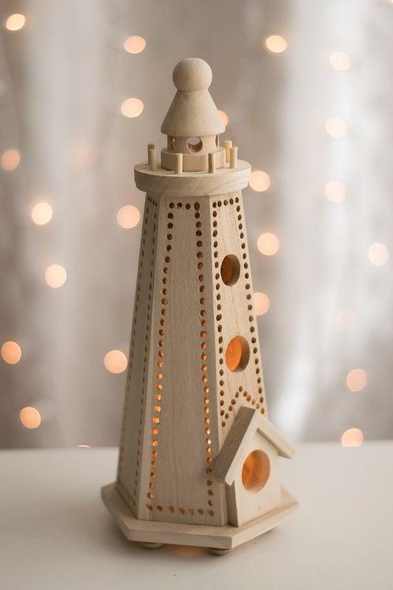 Items Similar To Wooden Lighthouse Night Light Nursery