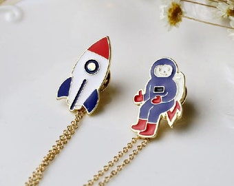 Rocket N Astronaut - Enamel Pin // Planetary Series #1 // Badge, Brooch, Lapel Pin, Backpack Pin // Cute & Funky Accessories