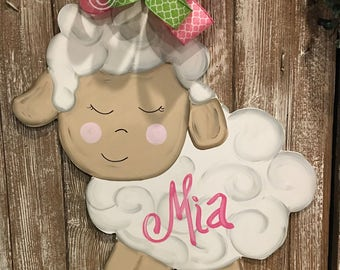 "Baby Lamb Wood Door Hanger 24""- Hospital Door - Baby Shower - Nursery Decor - Birth Announcement - Personalize Colors/Design"