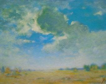 UKRAINIAN FINE ART Original Oil Painting by Ukrainian artist Reshetov R., Signed, Sky Clouds painting, Handmade Artwork, One of a Kind
