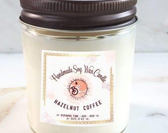 Hazelnut Coffee Scented Soy Candle 8oz