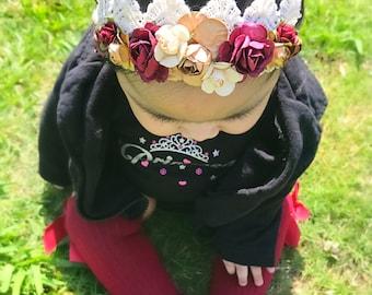 Burgundy lace mini crown
