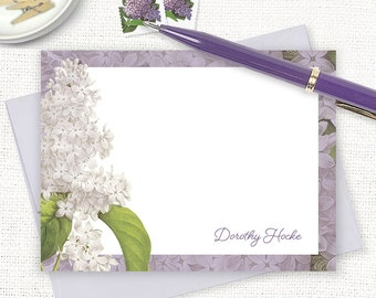 personalized note cards - GRANDMA'S LILACS in PURPLE - set of 12 flat cards - stationery - custom stationary - spring flowers - floral cards