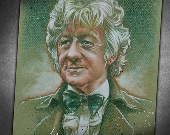 The Third Doctor - Original Portrait Drawing of Jon Pertwee in His Role as the Time Lord from Doctor Who