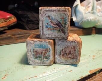 Antique Wooden Picture Blocks /  Lithograph Children's Blocks / Vintage Wood Toys