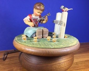 ANRI Thorens Girl Playing Instrument Music Box
