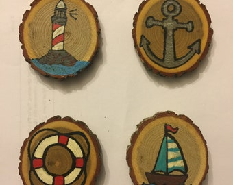 Out To Sea Magnet Set, Stocking Stuffer, Gift Idea, Under 25, Hand Painted Magnets, Wood Magnets