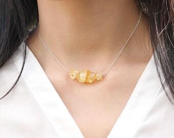 Natural Citrine Necklace, Raw Yellow Quartz Citrine Bar,925 Sterling Silver/Yellow Gold Jewelry,November Birthstone, Scorpio Zodiac Gift Her